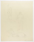 view (Untitled--Three Sketches of Figures on one page) digital asset number 1