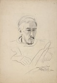 view Drawing of Eugene O'Neill {rectoA}; (Untitled--Detail of Decorative Architectural Structure) {versoB} digital asset number 1