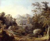view Landscape with Farm and Mountains digital asset number 1