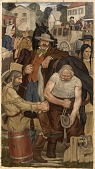 view The Blacksmith (mural study, Indianapolis, Indiana Post Office) digital asset number 1