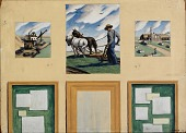 view Agriculture and Varied Industries (mural study, Windsor, Missouri Post Office) (3 panels) digital asset number 1