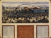 view Arrival of First Train in Herrington--1885 (mural study, Herrington, Kansas Post Office) digital asset number 1