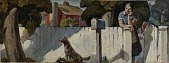 view Waiting for the Mail (mural study, Nappanee, Indiana Post Office) digital asset number 1