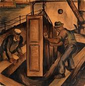 view Loading Cargo (Study for mural, Seattle Washington marine hospital) digital asset number 1