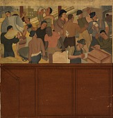 view Shipping and Construction (mural study, Huntington Park, California Post Office) digital asset number 1