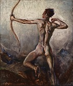 view (Untitled) (Male Nude with Drawn Bow) digital asset number 1