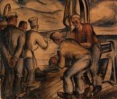 view Life Boat Drill (mural study, Seattle, Washington Marine Hospital) digital asset number 1