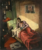 view Woman Reading in Bed digital asset number 1