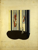 view First Color Study, Exhibition Hall, Community Center, New York World's Fair (perspective sketch for mural, Cultural Activities in the WPA, WPA Building) digital asset number 1