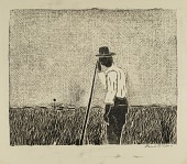 view Farmer Leaning on Staff in Field digital asset number 1