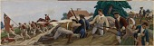 view A Skirmish between British and Colonists near Somerville in Revolutionary Times (mural study, Somerville, Massachusetts Post Office) digital asset number 1