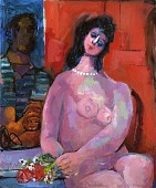 view Nude Seated near the Red Door (Nude Figure Seated--Sag Harbor) digital asset number 1