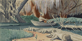 view Panel 5, Legend of James Edward Hamilton--Barefoot Mailman (mural study, West Palm Beach, Florida Post Office) digital asset number 1