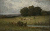 view Bright Scene of Cattle near Stream digital asset number 1