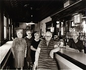 view Josephine Krolicka Balakir, Theresa Krolicka Vain, Marie Krolicka Hosza, Veronica Krolicka Wojcik, and Agnes Krolicka Silk in the Canton bar Agnes and her huband have owned for the past twenty-two years. digital asset number 1