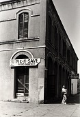 "view Pic-N-Save Food Market, corner of 18th and Market, Galveston, Texas, from ""The Corner Stores of Galveston,"" Galveston County Cultural Arts Council digital asset number 1"