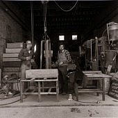 view Master stone cutter Kevin Conley (right) with his helper, Bill Bisesi. Kevin has worked at the Conley family-owned Barre Monument Company since the age of nine digital asset number 1