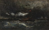 view Squall, Brenton Light (boat in storm, lighthouse in background) digital asset number 1