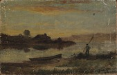 view Untitled (landscape, boat moored near bank with man walking) digital asset number 1