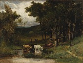 view Untitled (landscape with cows in stream near trees) digital asset number 1