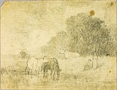 view Landscape with Cows at Pond, Two Figures digital asset number 1