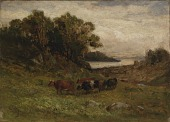 view Untitled (five cows grazing with trees and river in background) digital asset number 1