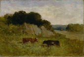 view Untitled (landscape with two cows) digital asset number 1