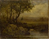 view Untitled (landscape, riverbank, three cows) digital asset number 1