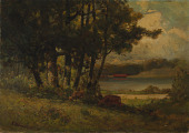 view Untitled (landscape with cows grazing near river) digital asset number 1
