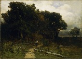 view Untitled (landscape, woodcutter on path) digital asset number 1