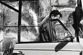 view (Untitled--triptych, right panel; man next to car) digital asset number 1
