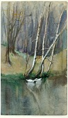 view Untitled (Wood Scene with Birch Trees and Ducks) digital asset number 1