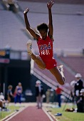 view Long Jumper, U.S.A. vs. G.D.R. Meet, Los Angeles, from the series Shooting for the Gold digital asset number 1
