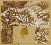 view The Long Hunters Discover Daniel Boone (mural study, Bowling Greene, Kentucky Post Office) digital asset number 1
