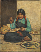 view Hopi Woman Weaving Plaques digital asset number 1