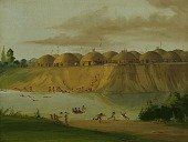 view Hidatsa Village, Earth-covered Lodges, on the Knife River, 1810 Miles above St. Louis digital asset number 1