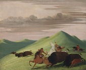 view Buffalo Chase, Bull Protecting a Cow and Calf digital asset number 1