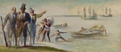view First Landing at Weymouth (Study for Post Office Mural, Weymouth Branch, Boston, MA) digital asset number 1