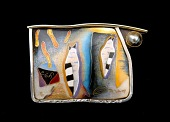 view Ideogram Brooch/Pendant with Two Striped and Wrapped Cats digital asset number 1