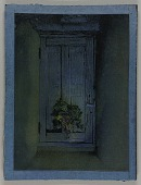 view Untitled (rough-hewn wooden door hung with decorated evergreen bough) digital asset number 1