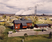 view View from First Baptist Church of Colstrip: Company Houses and Power Plant. October, 1984, from the series Colstip, Montana 1982-1985 digital asset number 1