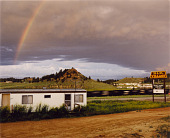 view B and R Village Mobile Home Park and Burlington Northern Coal Train. June 1984, from the series Colstrip, Montana 1982-1985 digital asset number 1