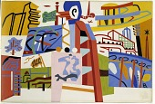 view Impression of the New York World's Fair (mural study, Communications Building, World's Fair, Flushing, New York) digital asset number 1
