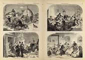 view Thanksgiving Day--Ways and Means/Arrival at the Old Home/The Dinner/The Dance, from Harper's Weekly, November 27, 1858 digital asset number 1