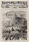 view The Inaugural Procession at Washington Passing the Gate of the Capitol Grounds, from Harper's Weekly, March 16, 1861 digital asset number 1