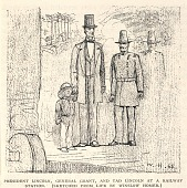 view President Lincoln, General Grant, and Tad Lincoln at a Railway Station, from The Century Magazine, November 1887 digital asset number 1