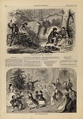view Christmas--Gathering Evergreens/The Christmas Tree, from Harper's Weekly, December 25, 1858, p. 820 digital asset number 1