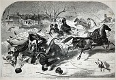 view The Sleighing Season--The Upset, from Harper's Weekly, January 14, 1860 digital asset number 1