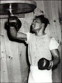 view Sugar Ray Robinson with training bag digital asset number 1