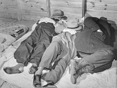 """view Farmers sleeping in a """"white"""" camp room in a warehouse. They often must remain several days before their tobacco is sold. Durham, North Carolina digital asset number 1"""